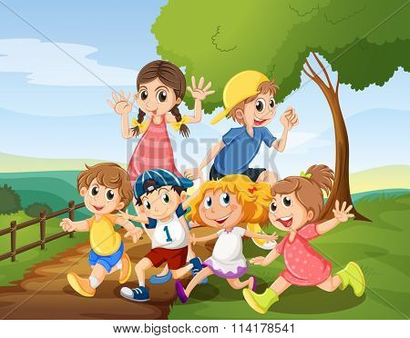 Children playing in the park at daytime illustration