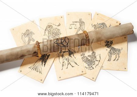 Old Parchment With Zodiac Card