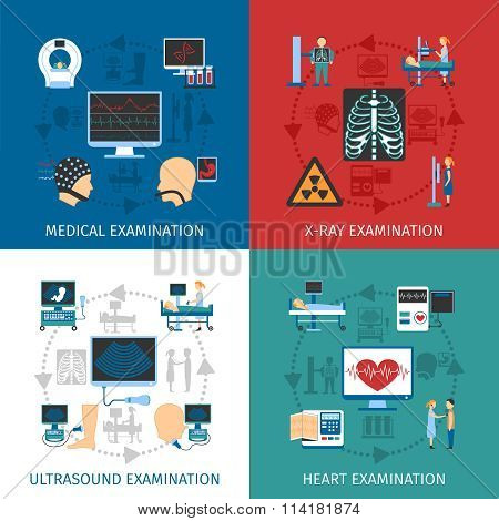 Medical Examination 4 Flat Icons Square