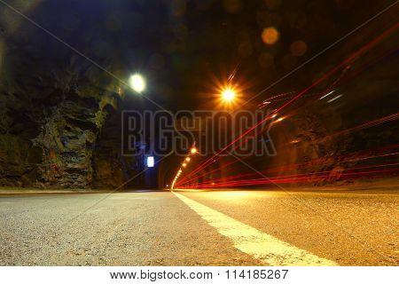 Automobile tunnel. Underground traffic. Norway.