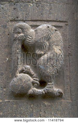 Sculpture: bird with egg