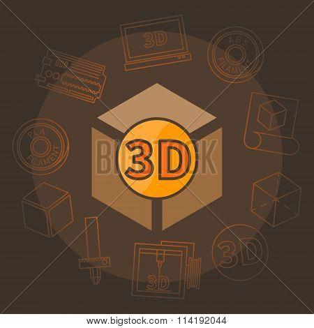 3D printing vector illustration