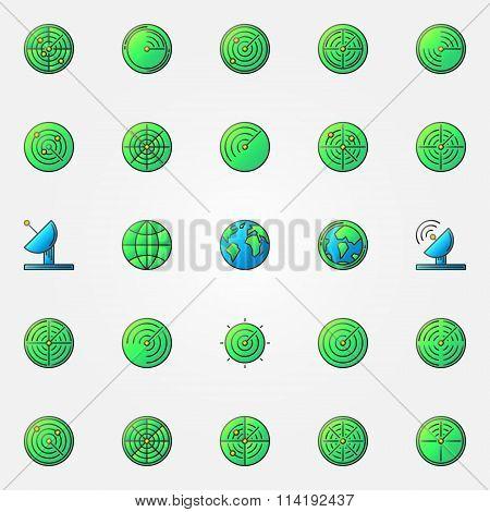 Radar colorful icons set