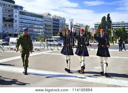 greek evzones in Athens