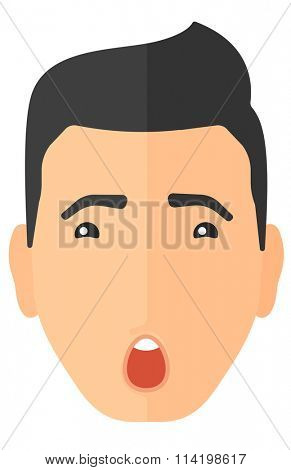 Scared man with open mouth.