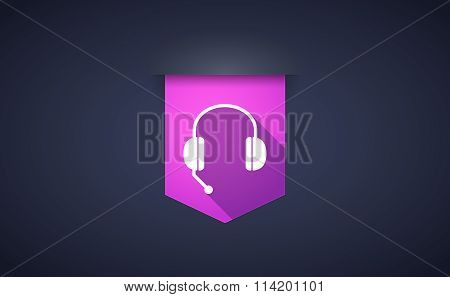 Long Shadow Ribbon Icon With  A Hands Free Phone Device