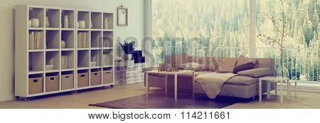 Panoramic livingroom interior with large view windows overlooking a forest and a comfortable couch and wall unit in the corner, banner format. 3d rendering.