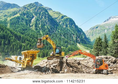 excavator and stone crusher machine