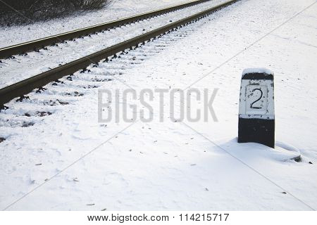 Winter, snow railway leaving into the distance, column number two