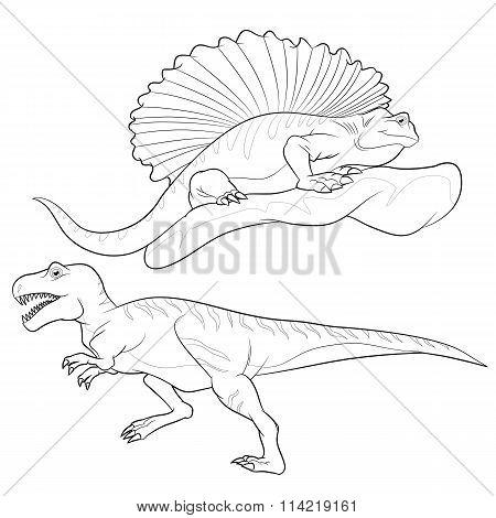 Allosaurus-edaphosaurus Lineart
