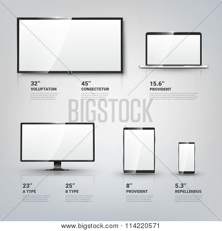 TV screen, Lcd monitor, notebook, tablet computer, mobile phone templates. Electronic devices vector