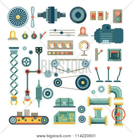 Parts of machinery and robot flat icons vector set
