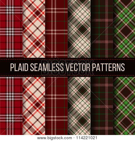 Lumberjack plaid, buffalo check, gingham seamless patterns set
