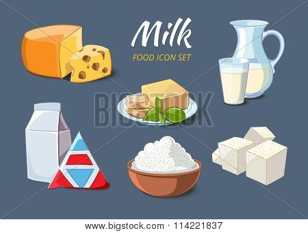 Milk products icons in cartoon style