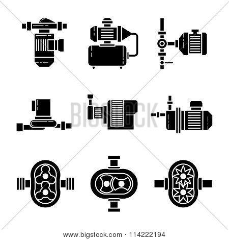 Water pump vector black icons sets