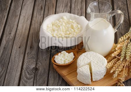 Fresh dairy products. Milk and cottage cheese with wheat on the rustic wooden background.