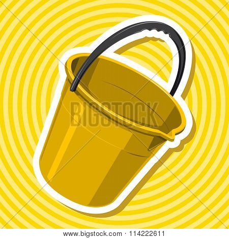 Nice golden yellow plastic bucket with black handle with outline border