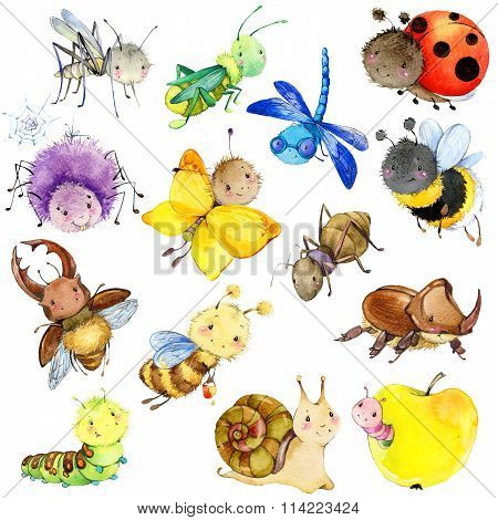 Funny insects collection. Watercolor Cartoon insect. Wasp, bee, bumblebee, butterfly, worm, caterpil