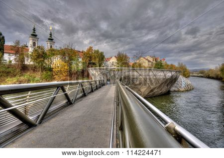 Artificial Island On The Mur River In Graz
