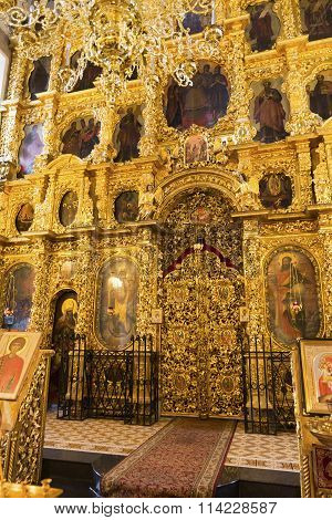 The iconostasis of the Church of the Nativity built in the 17th century Landmark