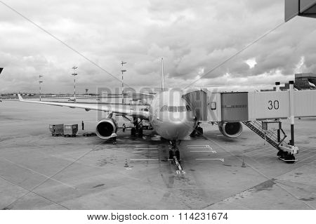 MOSCOW, RUSSIA - SEPTEMBER 25: Aeroflot Airbus A330 at Moscow Airport on SEPTEMBER 25, 2011 in Moscow, Russia. Aeroflot is the flag carrier and largest airline of the Russian Federation