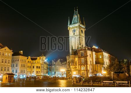 Night view of the Old Town Hall in Prague, Czech Republic