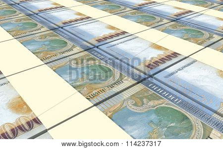Armenian drams bills stacked background. Computer generated 3D photo rendering.