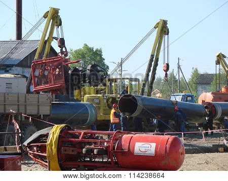 Russia, Sakhalin - 12 august 2014: Construction of the gas pipeline on the ground. Transportation of energy carriers.