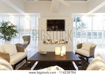 Stylish Living Room With A Fireplace