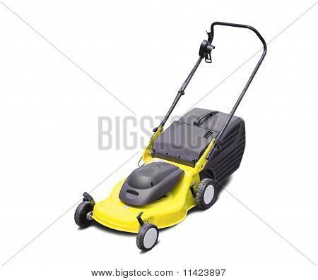 Yellow lawn mower. Isolated with clipping path poster