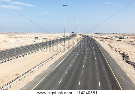 New multiple lane highway number one connection the cities of Al Ruwais and Doha. Qatar Middle East
