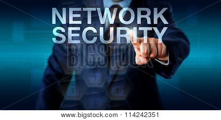 Administrator Touching Network Security Onscreen