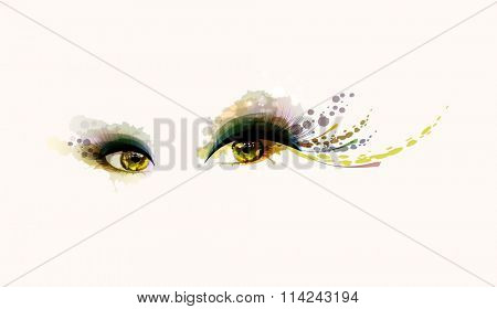Beautiful fashion woman eyes forming by blots
