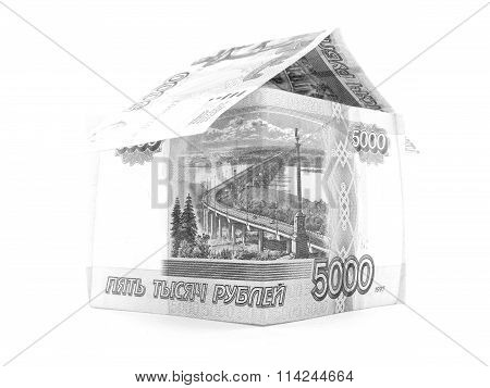 Five Thousand Russian Ruble Home, Rouble Banknote Isolated, White Background