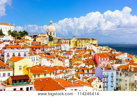 Lisbon, Portugal town skyline at the Alfama.