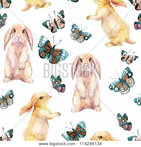 Rabbit And Butterflies. Watercolor Seamless Pattern