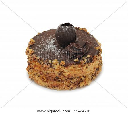 Chocolate Cake With Nuts, Isolated