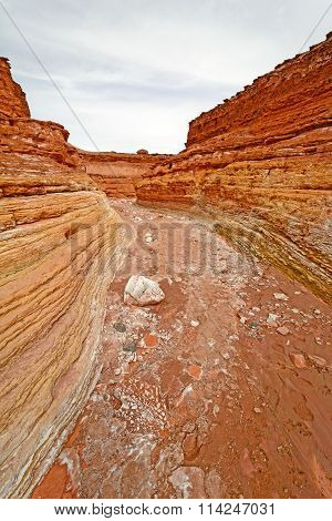 Looking Down A Dry Wash Canyon