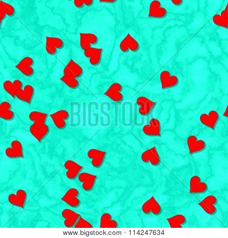 Sweet red hearts on turquoise blue background seamless irregular fractal pattern