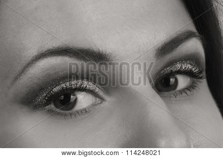 Beautiful female eye. Black and white photography.