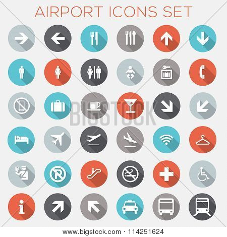 Colorful Airport Signage Icons Set - vector eps10