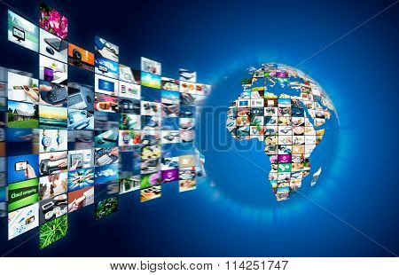 Television Broadcast Streaming Multimedia. Earth Globe Composition