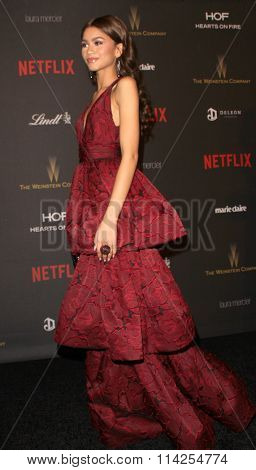 BEVERLY HILLS, CA - JAN. 10: Zendaya  arrives at the Weinstein Company and Netflix 2016 Golden Globes After Party on Sunday, January 10, 2016 at the Beverly Hilton Hotel in Beverly Hills, CA.