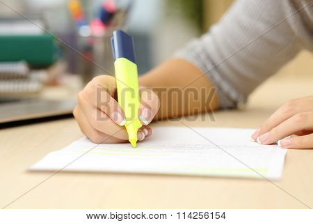 Woman Hand Underlining A Document