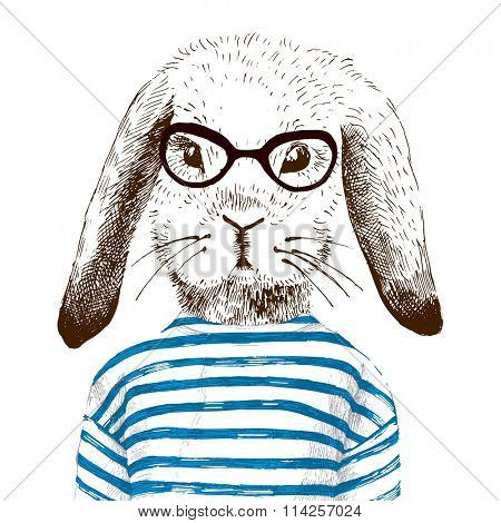 hand drawn illustration of dressed up bunny