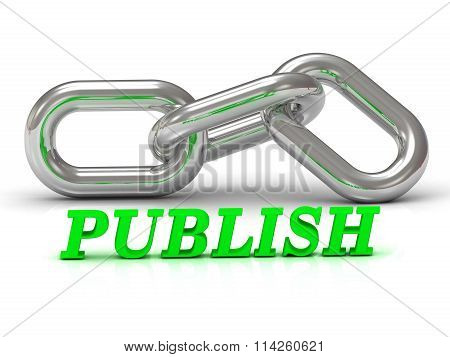PUBLISH- inscription of color letters and Silver chain of the section on white background