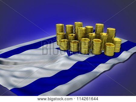 Israeli economy concept with national flag and golden coins