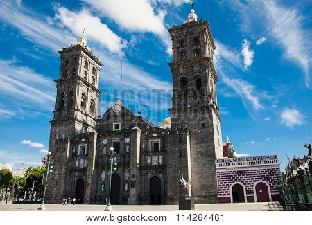 Puebla Cathedral  in Mexico. It is a Roman Catholic colonial cathedral consecrated in 1649. It is a major landmark in the city