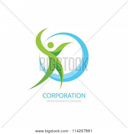 Green leafs human - vector logo concept illustration. Human character logo. Healthcare logo.