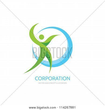 Green leafs human - vector logo concept illustration. Human character logo. Healthcare logo.